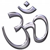 image of shakti  - 3d silver hinduism symbol isolated in white - JPG
