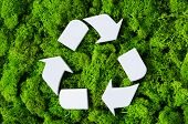 Top view of white recycle eco symbol on green moss with copy space. High angle view of recycled sign poster