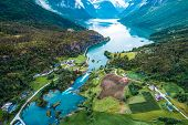 Beautiful Nature Norway natural landscape aerial photography. lovatnet lake. poster