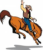 foto of bronco  - Vector art of a Rodeo cowboy riding a bucking bronco - JPG