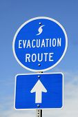 picture of disaster preparedness  - A highway sign marking Hurricane Evacuation Route - JPG