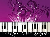 picture of musical note  - creative floral background with musical notes - JPG
