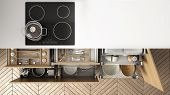 Modern Kitchen Top View, Opened Drawers And Stove With Cooking Pan, Minimalist Interior Design poster