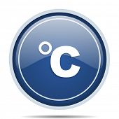 Celsius blue round web icon. Circle isolated internet button for webdesign and smartphone applicatio poster