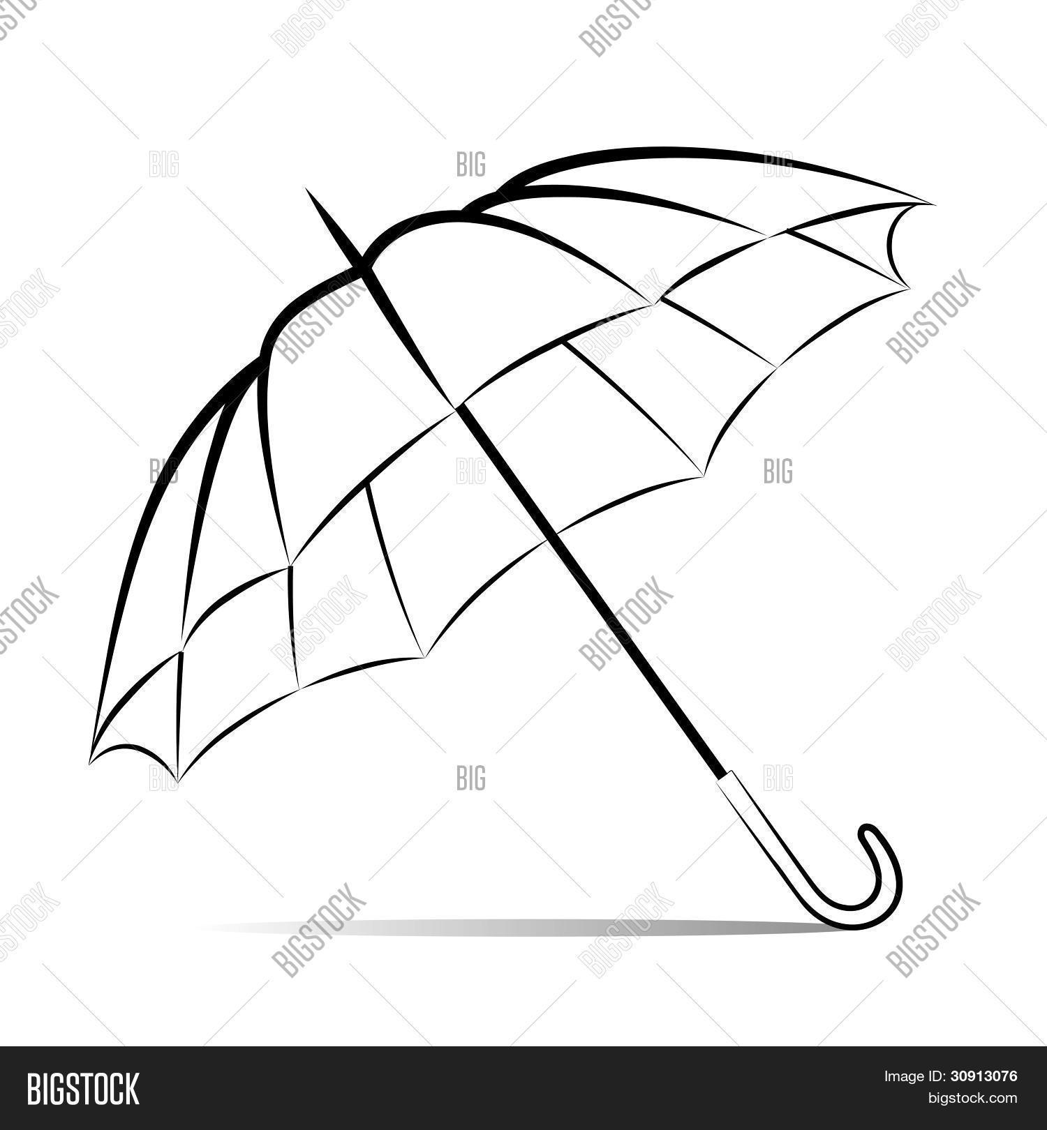 Line Drawing Umbrella : Drawing umbrella on white vector photo bigstock