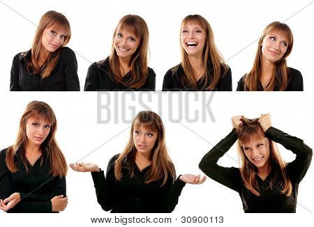 collection of 7 portraits of emotional attractive blond teen girl make faces isolated on white background
