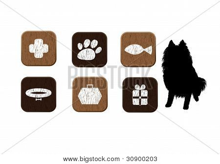 pets food, veterinary, shop wooden icons set
