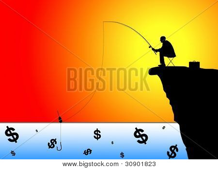 Silhouette of businessman fishing for money at sunset