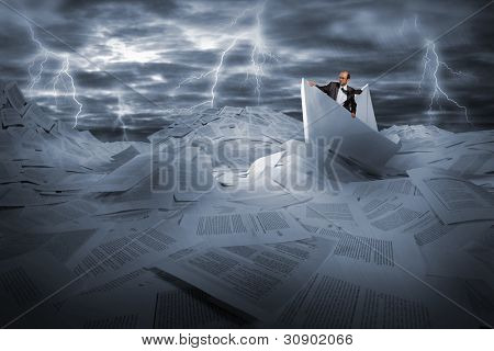 Lost alone businessman sailing in stormy papers sea