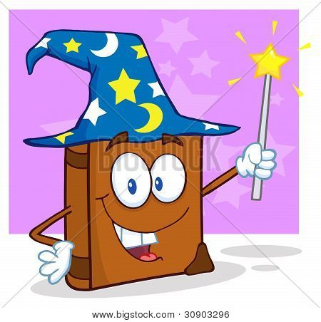 Wizard Book Cartoon Character Holding A Magic Wand