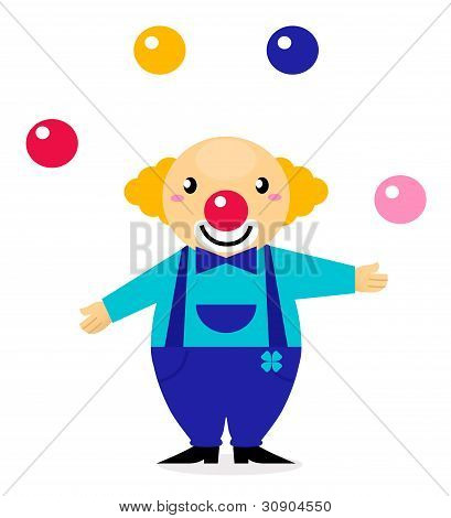 Cute Cartoon Jugglery Clown Character
