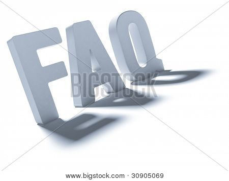 The acronym FAQ. Grey letters with a shadow on a light background