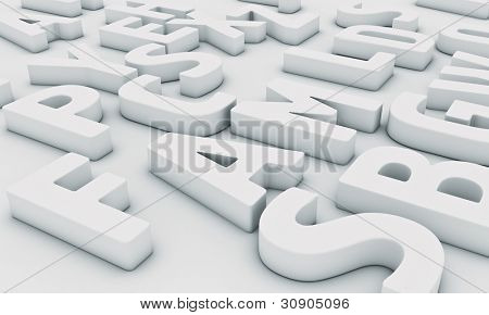 Different white letters on a light background