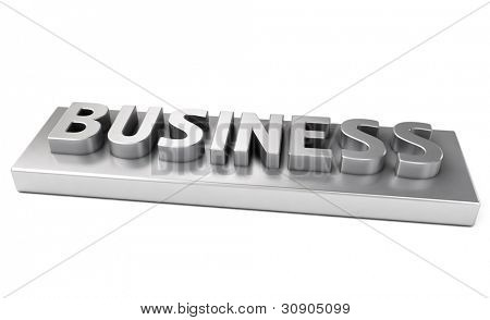 Business, metal letters with a shadow on a light background