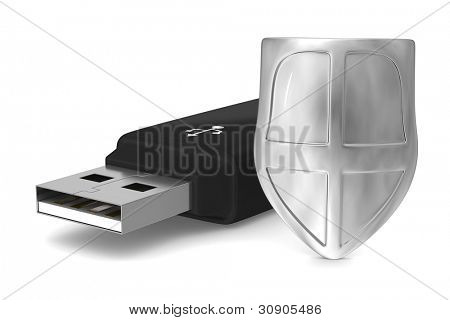 usb flash drive on white background. Isolated 3D image