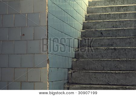 Old Tiled Wall And Concrete Staircase