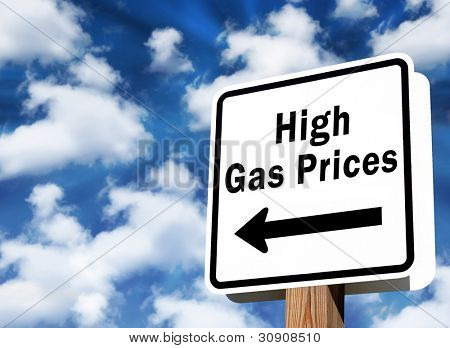 Sign showing high gas prices ahead