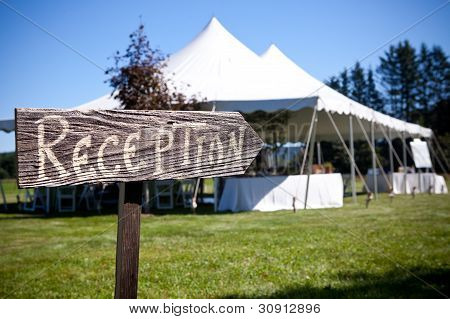 Reception Sign Points The Way To The Tent
