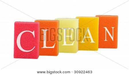 Concept Cleanliness. Group Of Kitchen Colorful Sponges With Labeled Clean Isolated