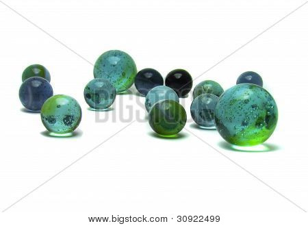 Small and large marbles together.