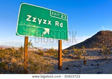 Zzyzx Road freeway sign along the Interstate 15 freeway near Baker, California