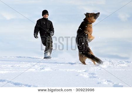 Boy and dog - winter