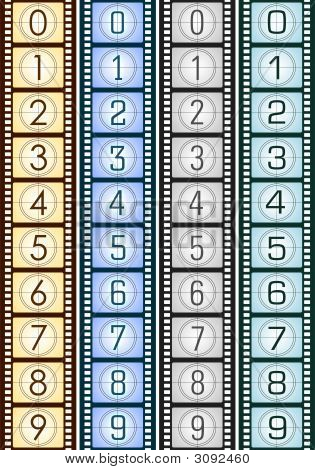 Texture Of Filmstrip With Countdown
