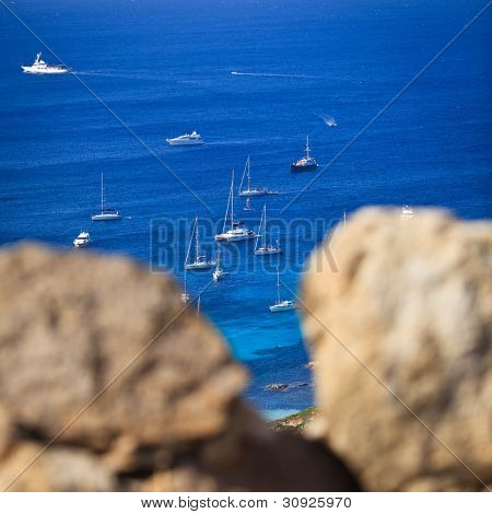 Stock Photo: Splendid corsica coastal waters with boats