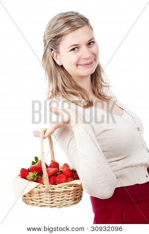 Cute Happy Woman Holding Basket With Strawberries