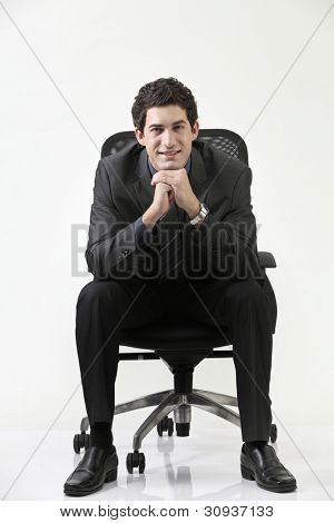 Business man sitting on office chair