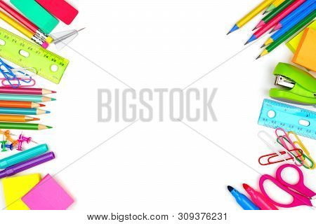 poster of School Supplies Double Side Border. Top View Isolated On A White Background With Copy Space. Back To
