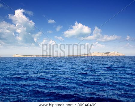 Ibiza Conillera and Bosque islands in a blue day in Mediterranean