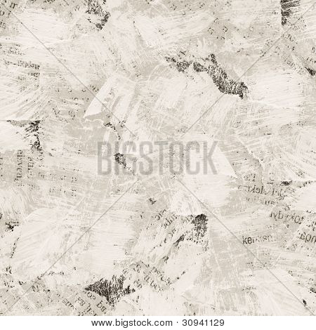 Grunge collage background made of torn painted newspaper