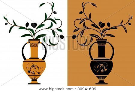 Ancient Greek amphora with olive branches