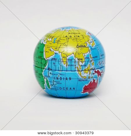 Close Up Of Globe On White Background