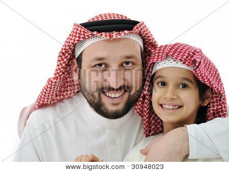 Arabian son and his father wearing keffiyeh