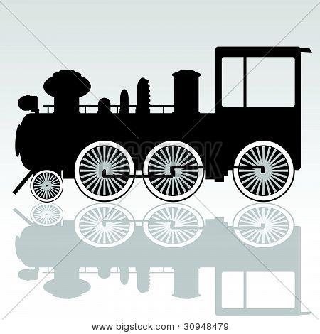 Old Locomotive Vector Illustration