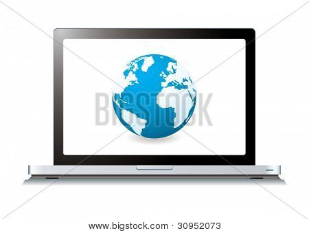 Modern laptop with world wide web internet icon