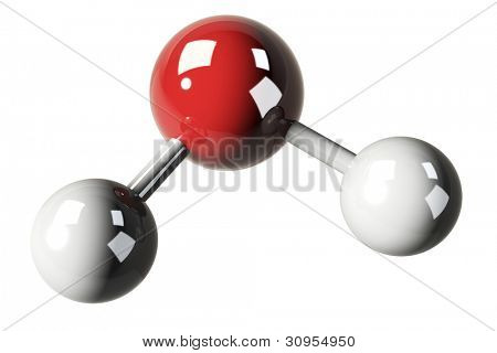 3d render of water molecules ( H2O ) isolated on white background