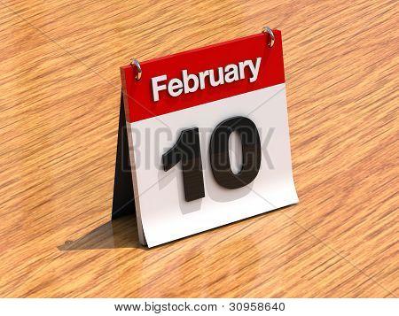 Calendar On Desk - February 10Th