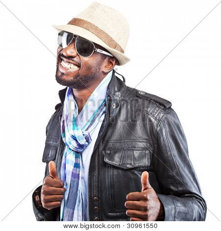Young black stylish man isolated over white background