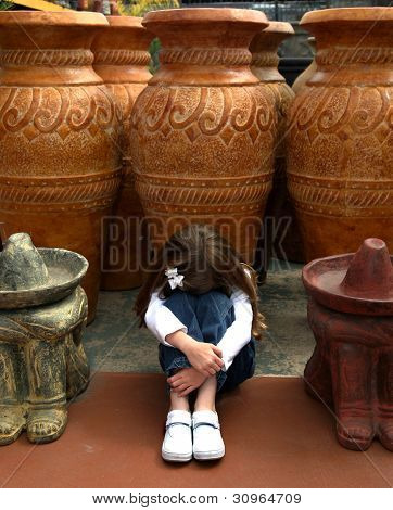 Young Girl Imitating Sleeping Ceramic Statues