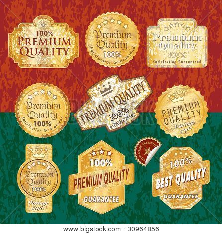 vector vintage designed golden grunge labels