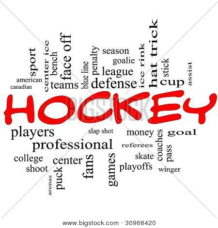 Hockey Word Cloud Concept In Red Scribbles