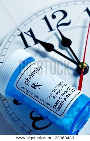 Clock And Pill Bottle