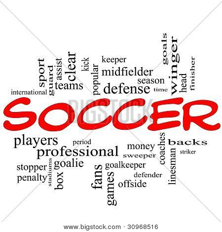 Soccer Word Cloud Concept In Red Scribbles
