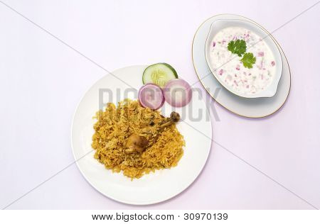 Biryani served on a white plate