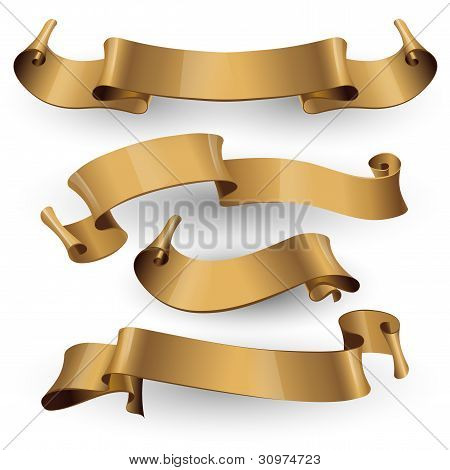 Gold glossy ribbons on a white background