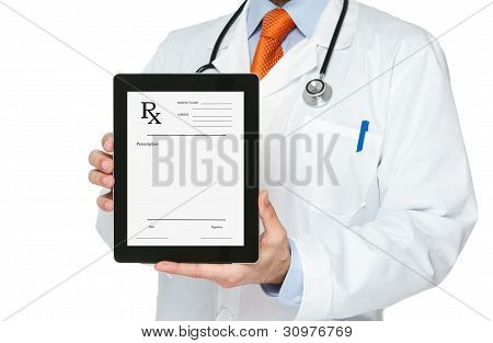 Doctor holding digital tablet with prescription on it