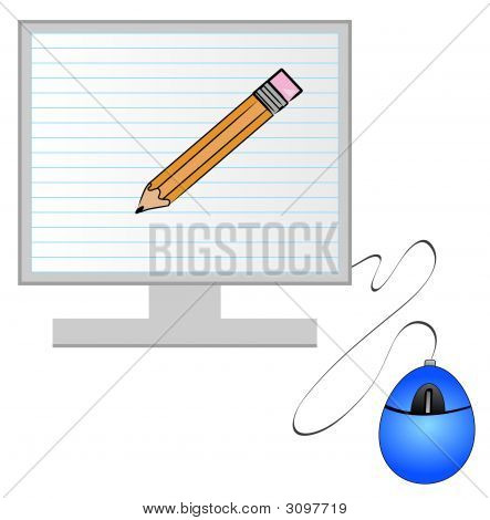Monitor And Mouse With Lined Paper N Pencil
